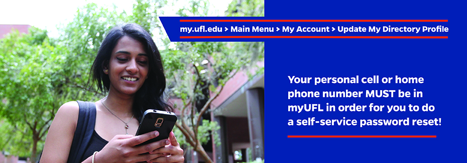 self-service password reset requires phone number in myUFL Directory Profile