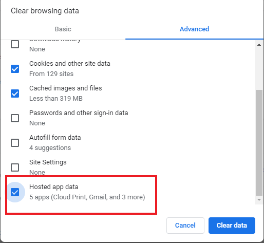 Select Host app data